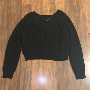 Black crop sweater size small NWT